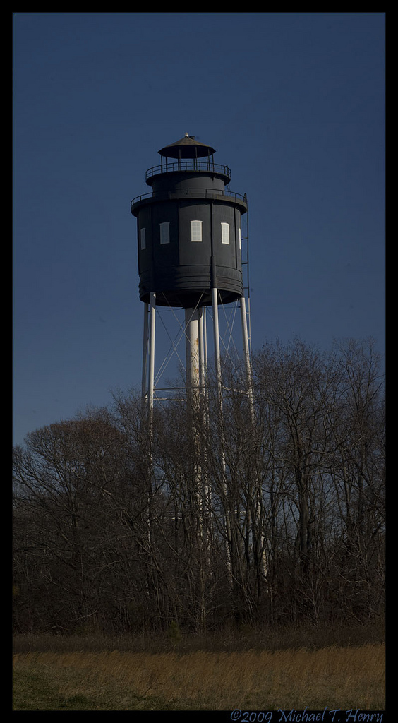 Water tower in town